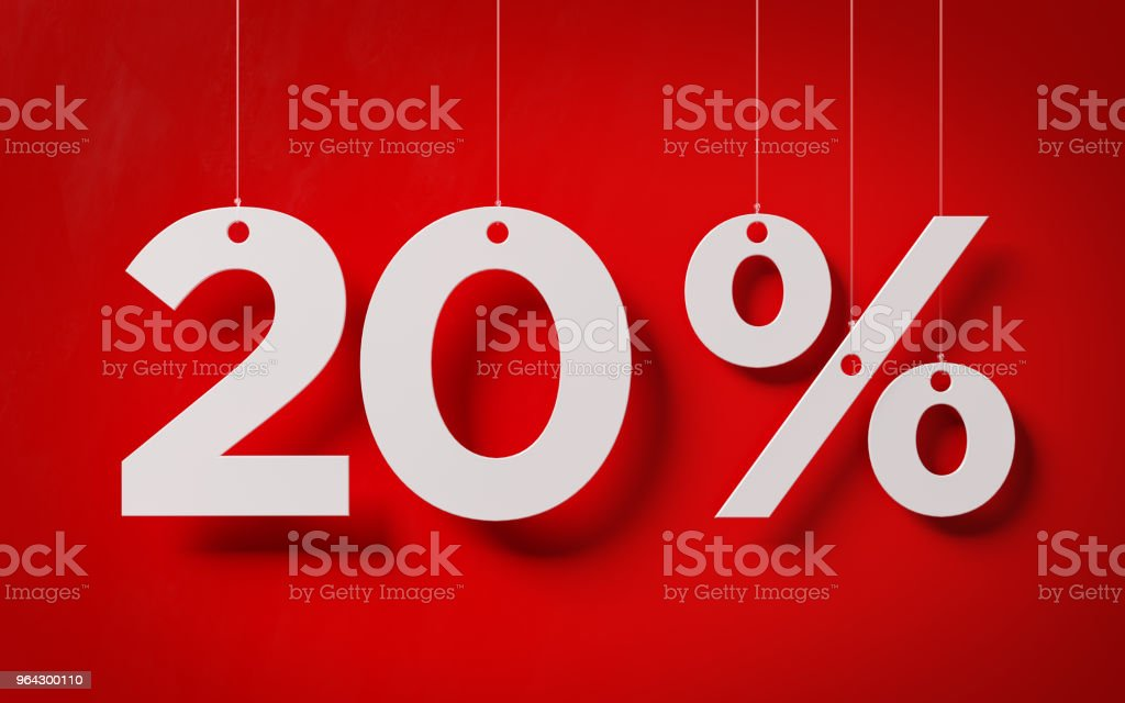 Sale Concept -White Twenty Percent Text With Strings Over Red Background stock photo