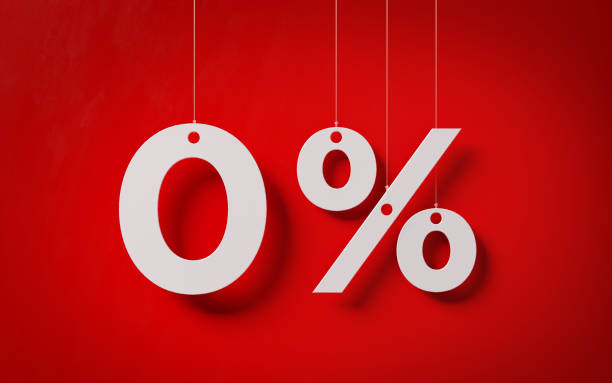 Sale Concept -White Zero Percent Text With Strings Over Red Background stock photo