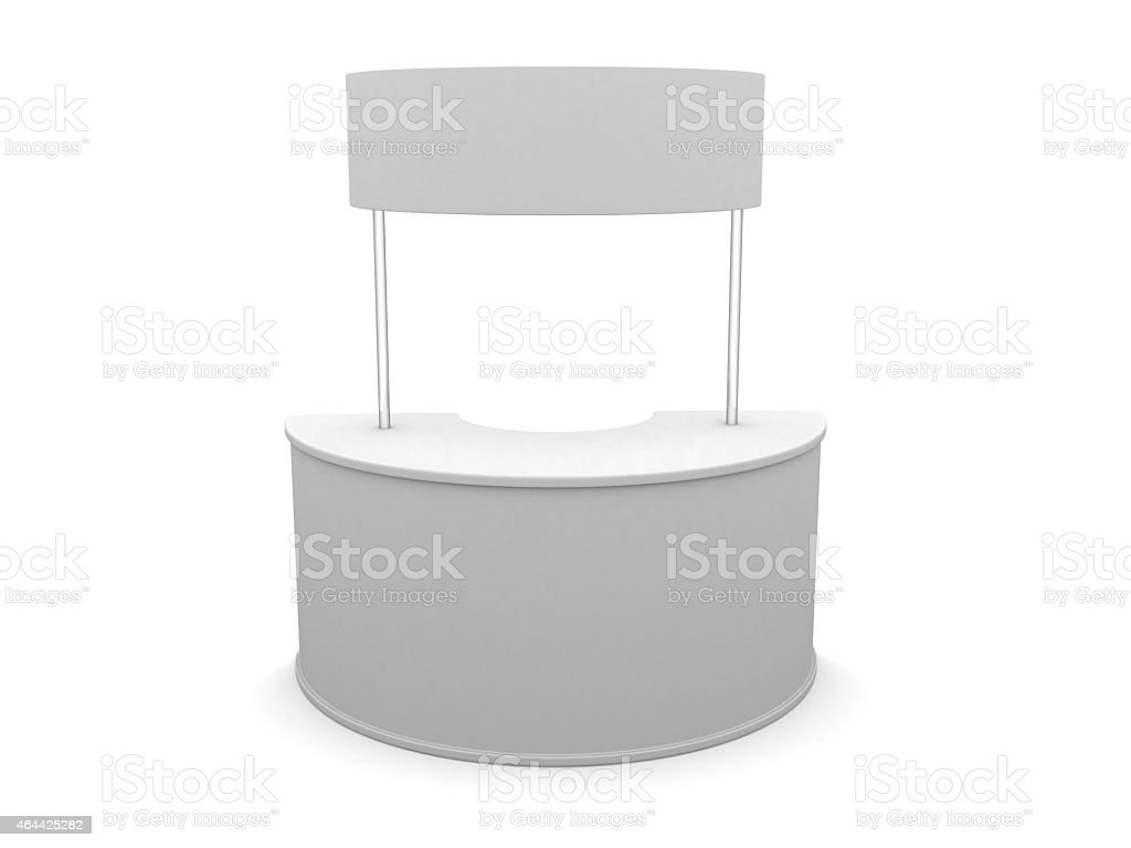 3D sale curve desk wrap advertising on a white background stock photo