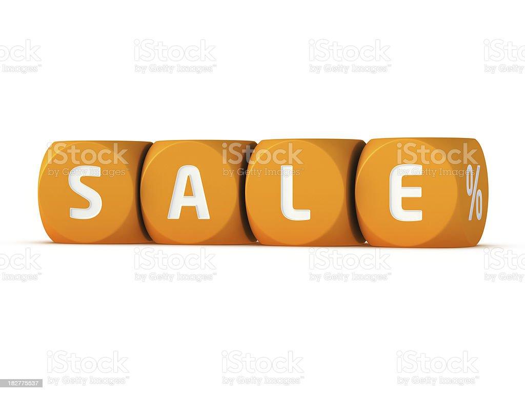 Sale Dices Row Word Orange royalty-free stock photo