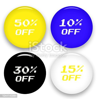 istock Sale discount web icons. Offer price tags. 10, 15, 30 and 50 percent off reduction price signs 1044140064