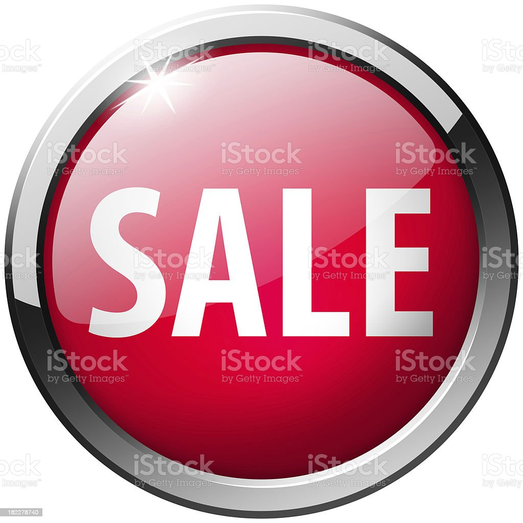 sale glass shiny red button royalty-free stock photo
