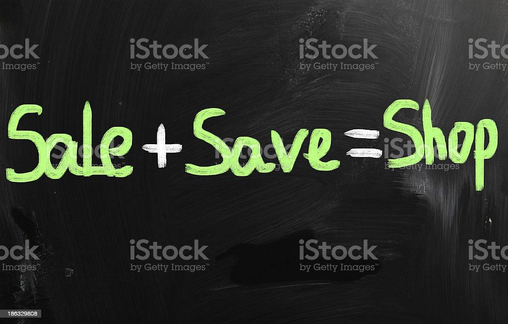 'Sale' handwritten with white chalk on a blackboard royalty-free stock photo