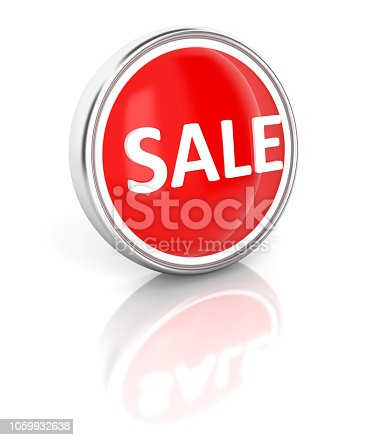 istock Sale icon on glossy red round button 1059932638