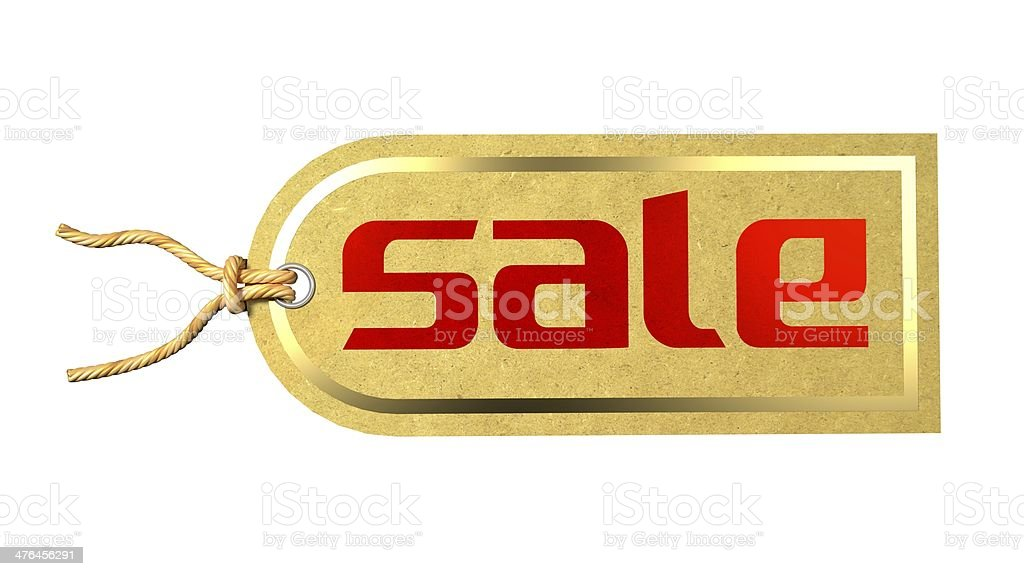 Sale Label Printed on Natural Paper with Golden Border royalty-free stock photo