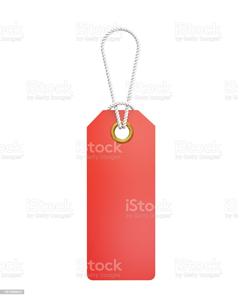 sale labels hanging, isolated on white background stock photo