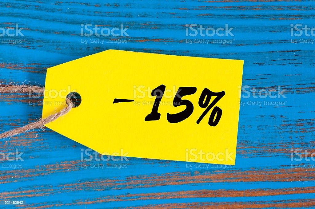sale minus 15 percent. Big sales 15%, fifteen percents on stock photo