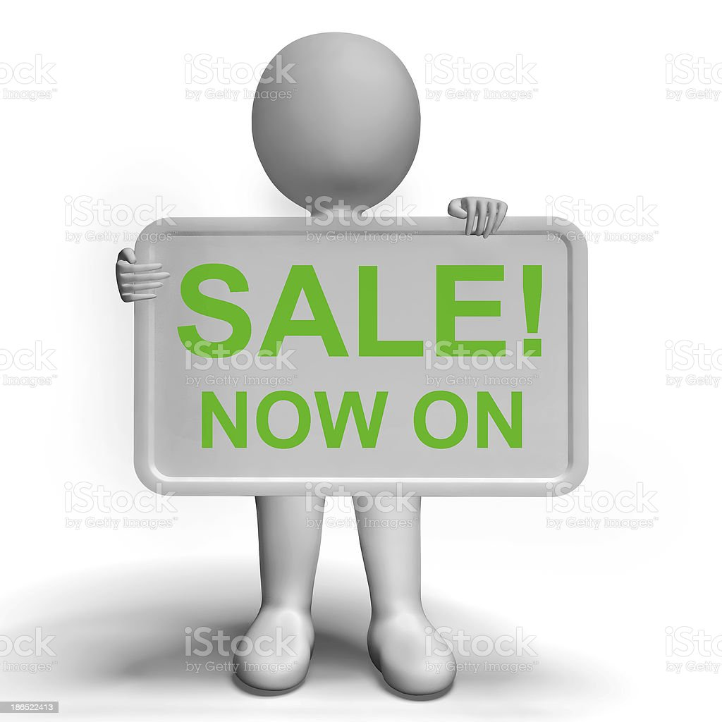 Sale Now On Message Board Shows Promotion royalty-free stock photo