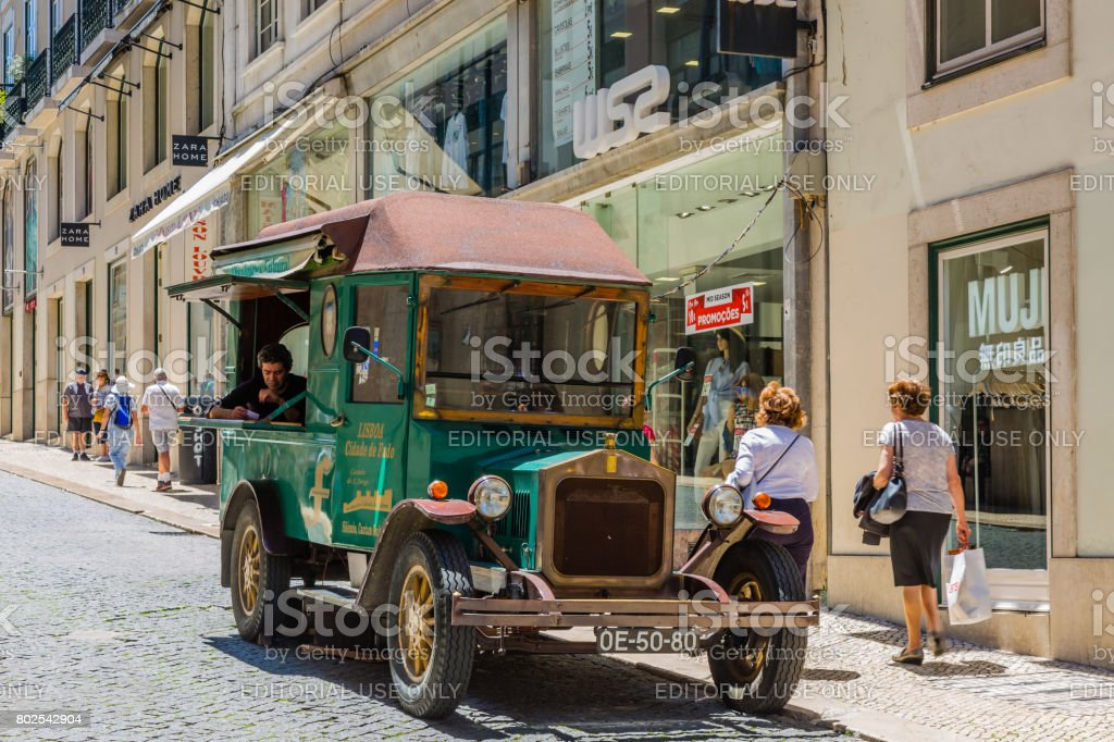 Sale of CD with traditional Portuguese music Fado in the center of Lisbon stock photo