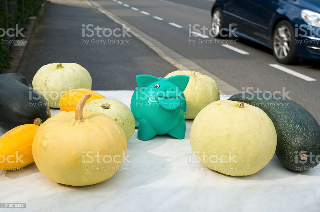 Sale Of Decorative Gourds Roadside With The Voluntary Payment Stock
