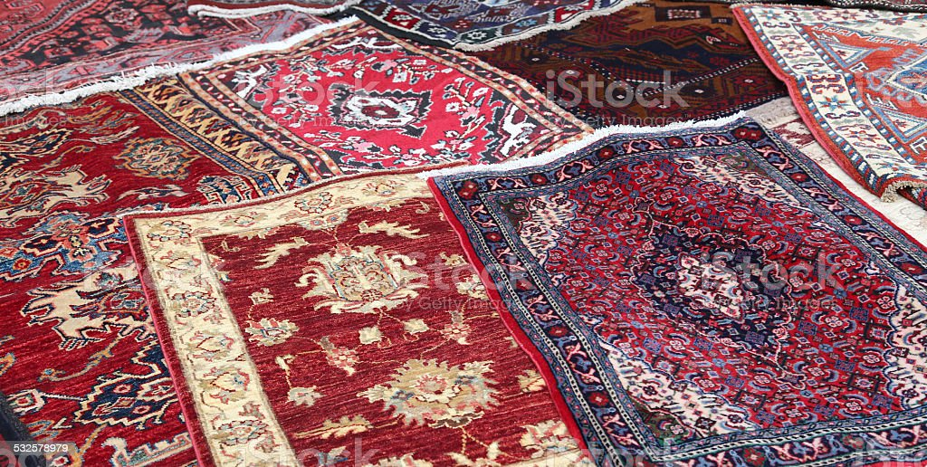sale of fine Oriental rugs hand knotted stock photo