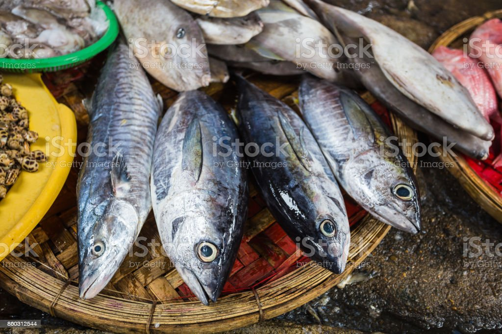 Sale of fish and seafood in market stock photo