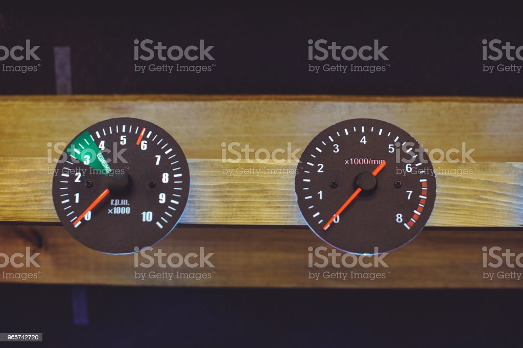 sale of modern and classic motorcycle and car speedometers, dashboard - Royalty-free Antique Stock Photo