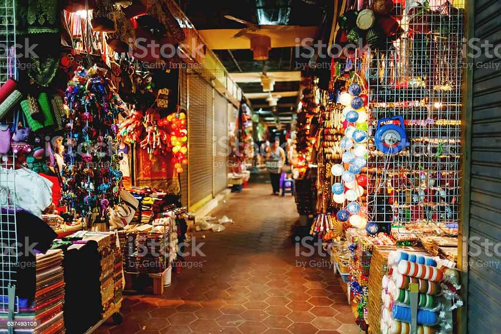 Sale of souvenirs in the market, Siem Reap, Cambodia. stock photo