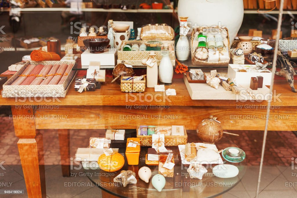 Sale Of Souvenirs Natural Cosmetics And Decoration For Interior Ubud