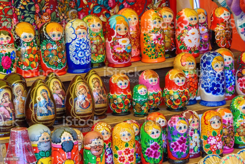 Sale of traditional Russian souvenirs 'Matreshka'. Russia, Suzdal, September 2017. stock photo