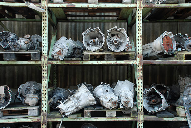 Sale of used car engines stock photo