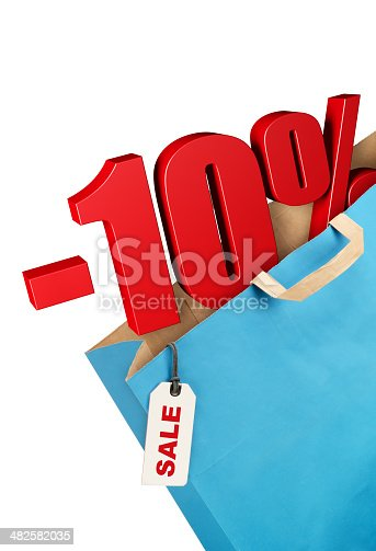 Grocery bag with ten percent symbol. Sale concept.