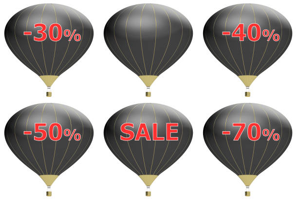 Sale poster concept with percent discount.3d illustration banner with air balloon. Design for banner, flyer and brochure for event promotion business or department store. Isolated on white background stock photo