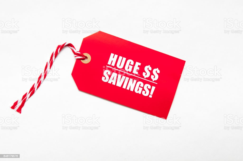 sale price reduction tag for discounts with dollar signs stock photo
