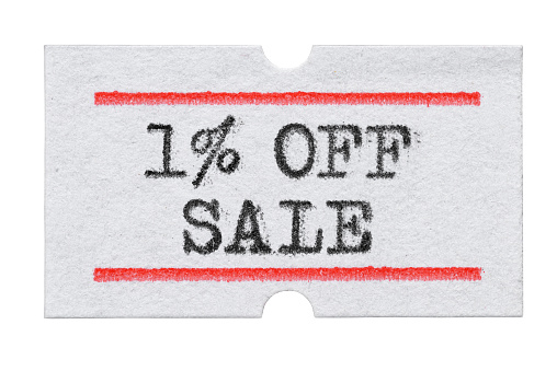 1 % OFF Sale printed on price tag sticker isolated on white