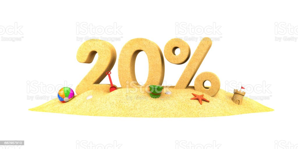 Sale season - 20% - the digits of sand. 3d illustration royalty-free stock photo