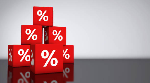 Sale Shopping Percent Discount Symbol Sale and shopping concept backdrop with percentage symbol on red cubes 3D illustration. discount store stock pictures, royalty-free photos & images