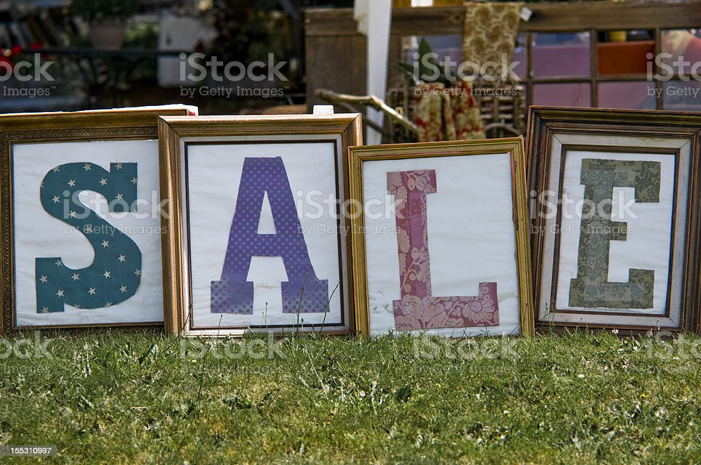 Sale sign for flea market stock photo