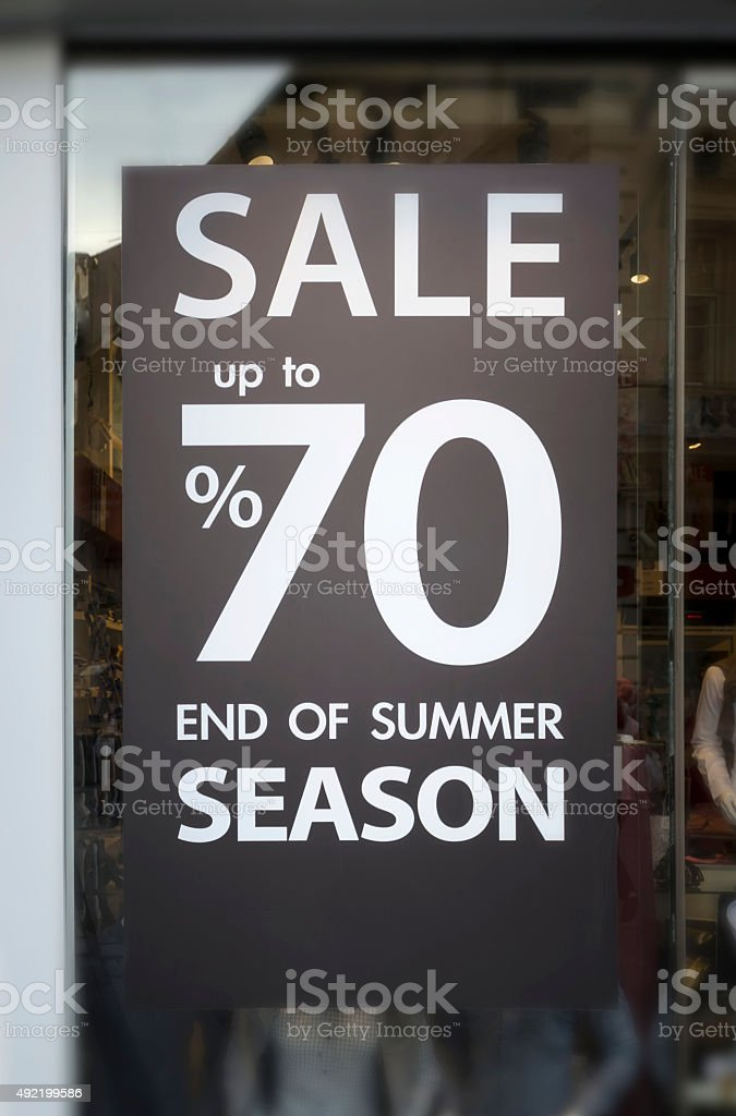 Sale Sign In A Clothing Store Window stock photo