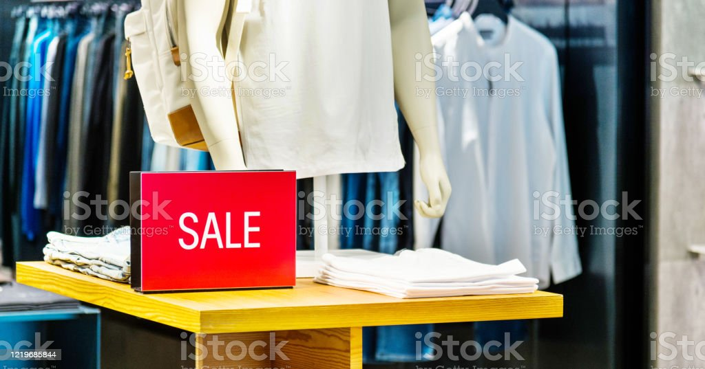 Sale Sign In Mens Clothing Store Stock Photo Download Image Now Istock