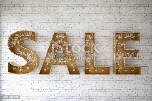Sale sign with light bulbs