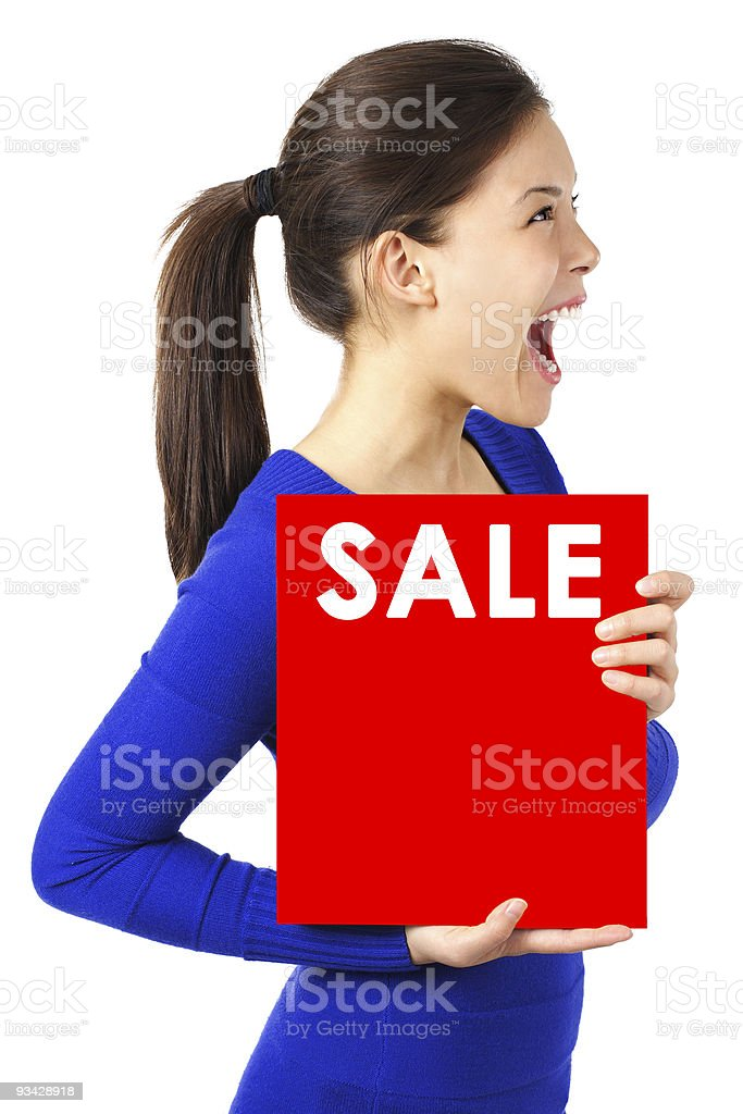 Sale sign woman royalty-free stock photo