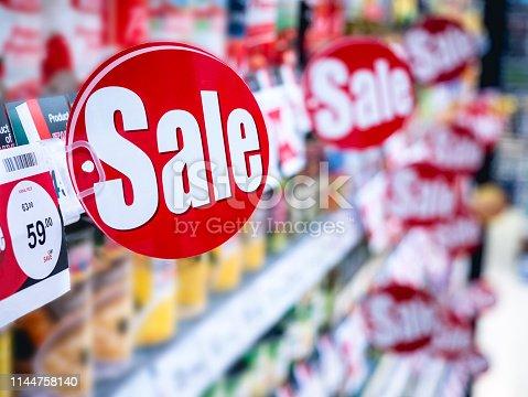 Sale signage Supermarket shelf Marketing Promotion Discount sign in supermarket Retail Business
