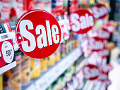 istock Sale signage Supermarket shelf Marketing Promotion Discount 1144758140