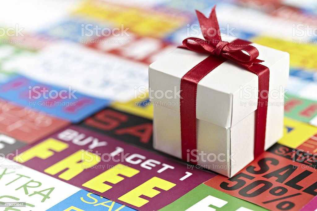 Sale Signs And Gift Box royalty-free stock photo