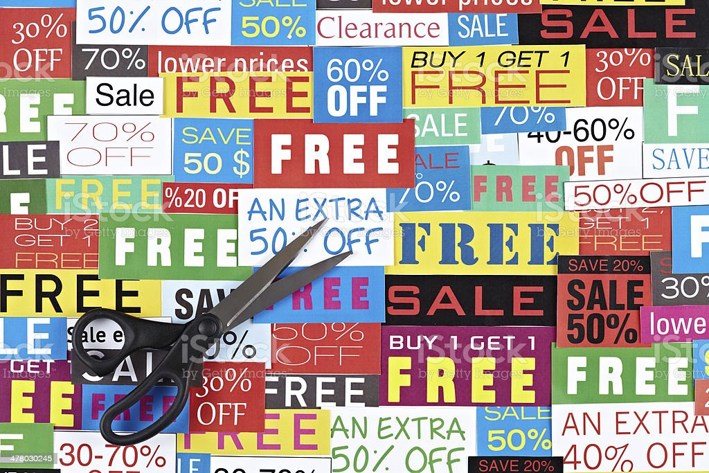 Sale Signs And Scissors royalty-free stock photo