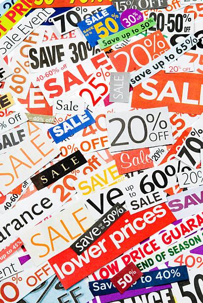 sale-beschilderung, tageszeitung und flyers clippings-xxi - matheblatt etiketten stock-fotos und bilder