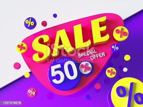 istock Sale special offer - 3d rendering concept advertising concept banner. Discount up to 50% off. Promotion creative layout. Bright raster bitmap digital illustration. Marketing print poster. 1257078378