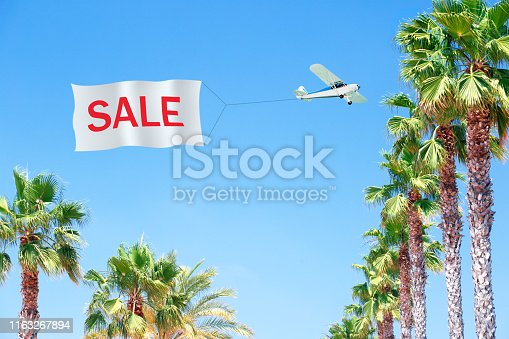 Sale summer banner, poster with tropical leaves, palm and Airplane pulling blank banner with message-SALE.