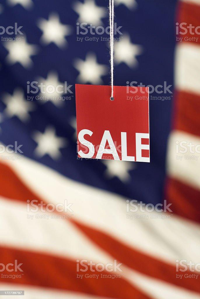 Sale Tag & American Flag Vt stock photo