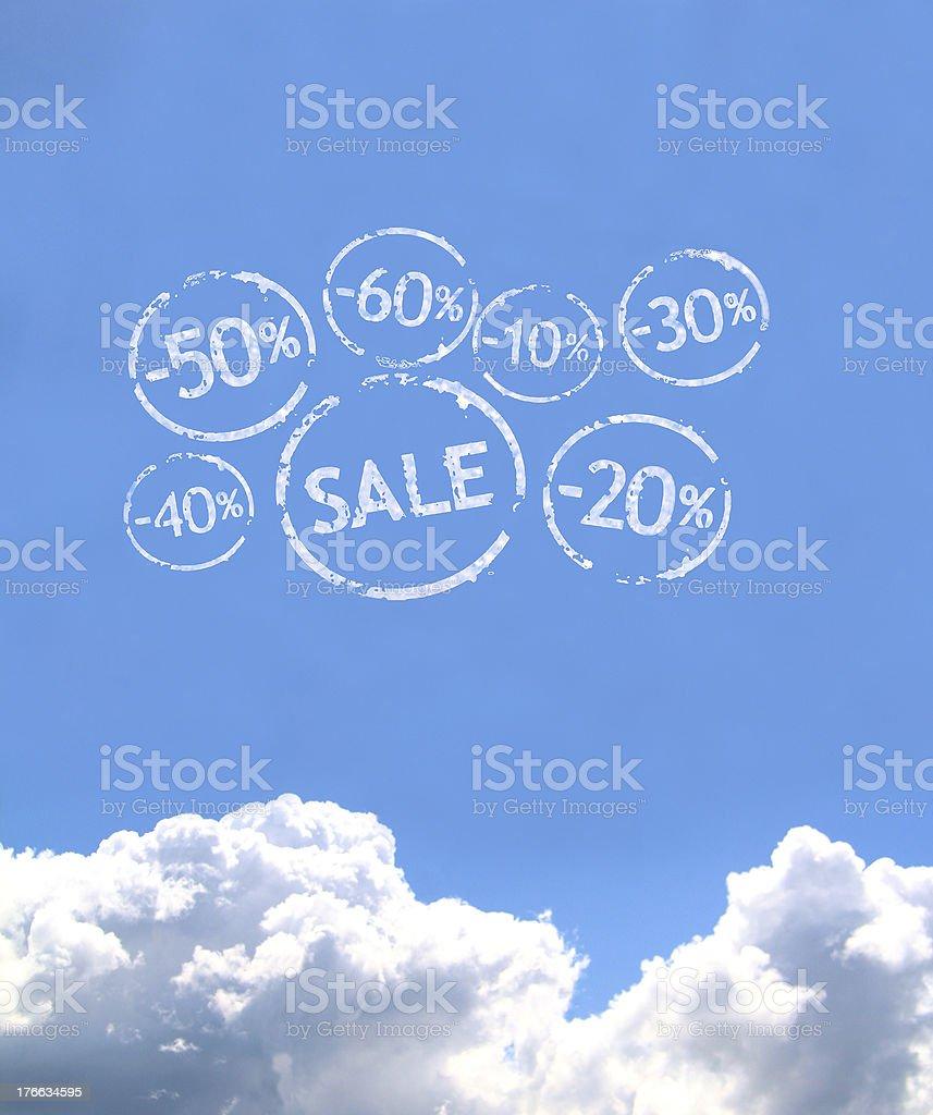 Sale tag cloud stock photo