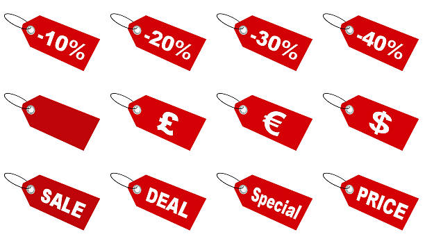 Sale tags collection stock photo