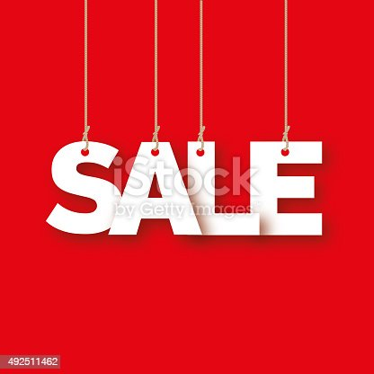 istock Sale, the word of the letters hanging on the ropes 492511462