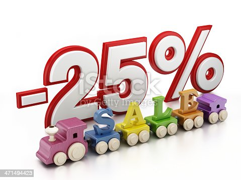 -25% text and wooden train with S-A-L-E letters. The idea is