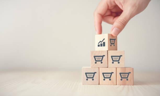 sale volume increase make business grow. - commercio elettronico foto e immagini stock