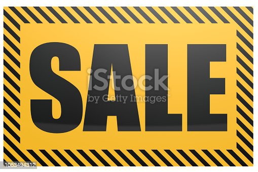 istock Sale word on yellow and black banner 1053494312