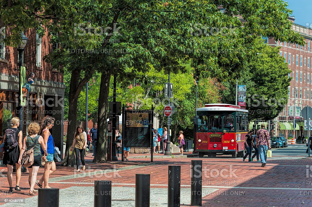 Salem Massachusetts, tourists and trolly bus stock photo