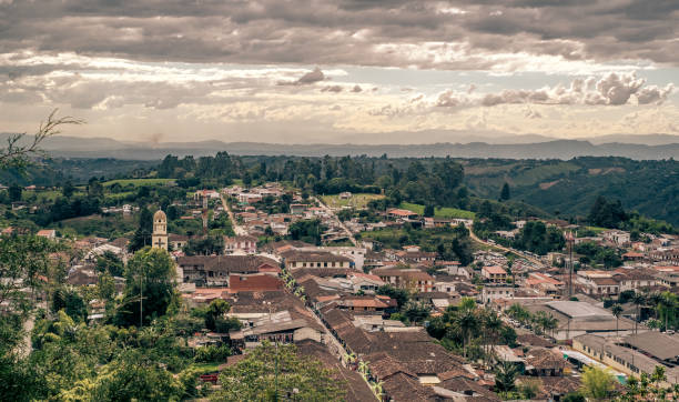 Salento, Colombia Aerial view of the town of Salento, Quindío, Colombia. Coffee production area. armenia country stock pictures, royalty-free photos & images