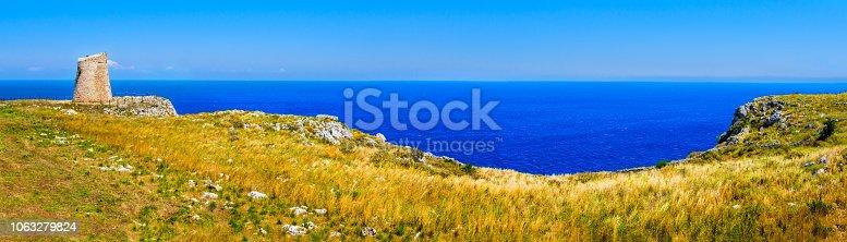 istock Salento countryside panoramic view watchtower coastal seascape grass - Apulia - Italy 1063279824