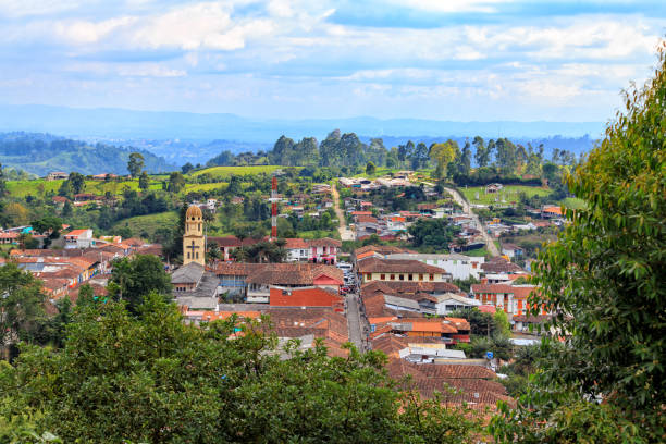 Salento View of the colonial town of Salento, Colombia. southern charm stock pictures, royalty-free photos & images
